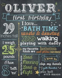 First Birthday Stats by Brittany with photoshop brushes from DesignerDigitals.com