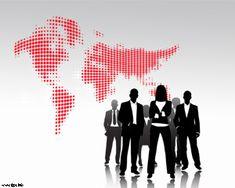 Coaching Ejecutivo PPT con mapamundi y personas de negocio
