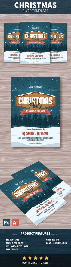 Christmas #Flyer - #Holidays #Events Download here: https://graphicriver.net/item/christmas-flyer/18722350?ref=alena994