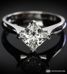 Unique! Princess-Cut-Solitaire-Engagement-Ring I love how it's angled instead of square on