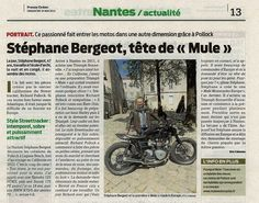 Local newspaper looks after Mule - Quotidien local qui suit Mule. Courtesy: Richard Pollock. Mule Motorcycles. Poway, CA (USA) & Nantes (France)