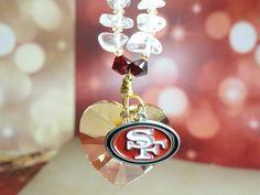 NFL Crystal Heart Rear View Mirror Suncatcher by joolrylane, $30.00