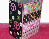 Jewelry Chest Box Hippie Chick Peace signs