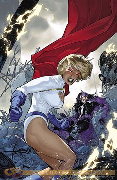 "Not sure what the thinking is but the cover and solicit for May's Worlds' Finest shows and says the ""classic"" Power Girl costume is back. "" As Power Girl returns to her classic look, DeSaad wreaks. Arte Dc Comics, Dc Comics Art, Dc Comics Girls, Power Girl Comics, Power Girl Dc, Heros Comics, Dc Comics Characters, Dc Heroes, Supergirl"
