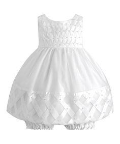 Loving this White Satin Lattice Dress & Bloomers - Infant on #zulily! #zulilyfinds