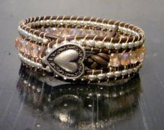 Pink and Silver Leather Beaded Wrap Bracelet