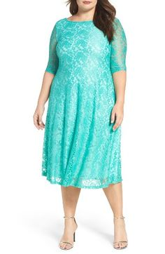 fdf3c45be Free shipping and returns on Sangria Fit   Flare Lace Dress (Plus Size) at