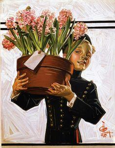 Joseph Christian Leyendecker (1874-1951) - Bellhop with Hyacinths (The Saturday Evening Post), 1914