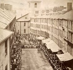 Brattle Street in Boston during a celebration, 1860's