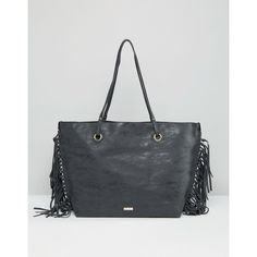 ALDO Shopper Bag with Fringe Detail ($48) ❤ liked on Polyvore featuring bags, handbags, black, handle shopping bags, fringe handbags, shopping bag, handle bag and shopping tote bags