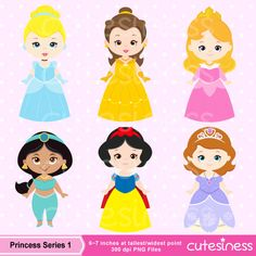 Princess Series 1 Digital Clipart : 6 Graphics    ----------------------- ★★ Package Included ★★-----------------------------------    *You will