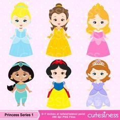 Cute Princess Digital Clipart Princess Clip Art Cute by Cutesiness
