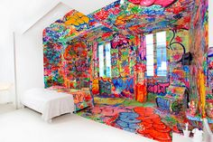 Internationally recognized graffiti artist Tilt has just completed this eye-popping interior design work for the Au Vieux Panier hotel in Marseille, France.