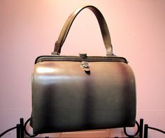 Unusual Vintage 1950's Early 1960's Art Deco Gray & Black Striped Leather BOXY Kelly BAG Purse - Love the look of vintage bags.  Perfect to showcase Autumn/Winter looks.