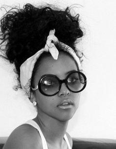 Messy updo with shades #Bandana