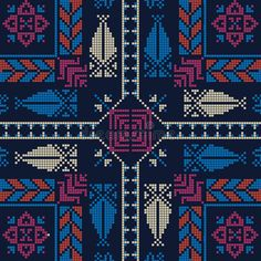 Illustration about Seamless pattern design with traditional Palestinian embroidery motif. Illustration of fashion, design, fabric - 168299163 Modern Cross Stitch Patterns, Cross Stitch Designs, Embroidery Motifs, Cross Stitch Embroidery, Cross Stitch Cushion, Everything Cross Stitch, Palestinian Embroidery, Creative Arts And Crafts, Cross Stitch Alphabet