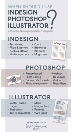Business infographic : When should I use InDesign, Photoshop or Illustrator? A quick guide and rulebook… Business infographic : When should I use InDesign Photoshop or Illustrator? A quick guide and rulebook Cv Photoshop, Photoshop Illustrator, Illustrator Tutorials, Photoshop Tutorial, Lightroom, Graphisches Design, Graphic Design Tutorials, Tool Design, Graphic Design Inspiration