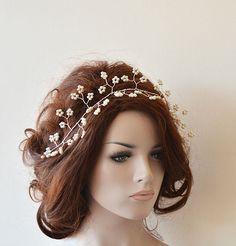 Wedding Headband Bridal Headband Bridal Pearl Hair Vine by ADbrdal
