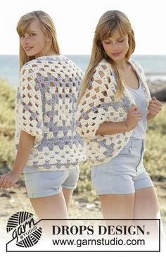 "Free Pattern  Island Morning by DROPS Design Crochet DROPS shoulder piece with dc-groups in ""Eskimo"". Size: S - XXXL."