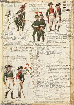 ******** Militaria, Italia XIX secolo. Uniformi militari italiane durante l'amministrazione napoleonica in Lombardia. Tavola dal Codice Cenni.