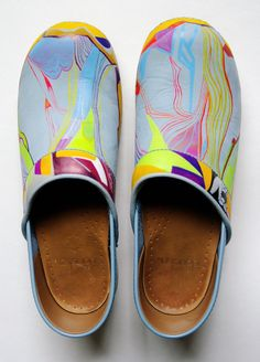 f52022ac5bd3 Hand Painted Leather Dansko Professional XP Clogs Size 39 Made in Poland  Neon