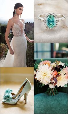 Berta Bridal Wedding Dress Meets Classic Aqua and Gold