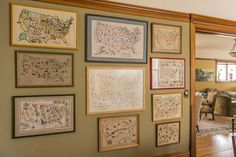 Some of my embroidered maps of the U.S. Photo by Patrick Kelley.