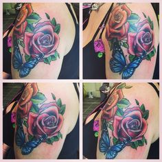 Really happy with my butterfly and rose tattoo. Now to plan the next stage of my sleeve