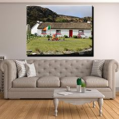Irish Traditional Thatched Cottage Canvas Print Wall Art Outdoor Sofa, Outdoor Furniture, Outdoor Decor, Wall Art Prints, Canvas Prints, Thing 1, Irish Traditions, Stephen Pearson, 1 Piece