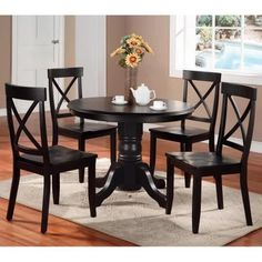 Home Styles 5 Piece Round Pedestal Dining Set - Black - Dining Table Sets at Hayneedle