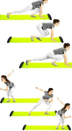 Slide Workout, Fun Workouts, At Home Workouts, Fitness Gadgets, Total Body, Excercise, Get In Shape, Skating, Infographics