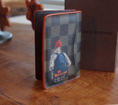 Louis Vuitton Pocket Organizer, Hand painted inspired from Contemporary artwork. Orange edge dye
