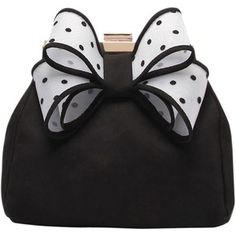 Miss KG Tara Bow Clutch Bag, Black/White