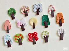 ♥ A single, little tree brooch ♥    Little tree brooches made from fabric, felt and leather.  They can be pined on many things you want!  shirt, hat,