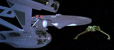 Screen capture from the movie Star Trek III: The Search for Spock showing the USS Enterprise vs. a Klingon Bird of Prey. © 2015 CBS Studios Inc All Rights Reserved. STAR TREK and related marks are trademarks of CBS Studios Inc.