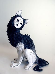 """""""Qing"""" by yuumei  Score: 59/100    ARTINFO: Yoshitomo Nara this surreal ceramic sculpture is not. The monstrous humanoid wolf has a face like a Noh mask and Chinese characters spotting its white skin. The black surfaces are painted with sumi ink, another traditionally Asian medium. We bet Kiki Smith would appreciate it."""