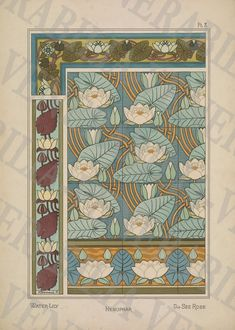 Water Lily Botanical Illustrations Poster by LithograghLibrary Illustration Botanique Vintage, Illustration Art Nouveau, Botanical Illustration, Fleurs Art Nouveau, Art Nouveau Flowers, Illustrations Poster, Floral Illustrations, Eugene Grasset, Picture Boxes