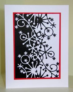 Memory Box dies- Frostyville Border 98146 FS261 - Darsie1 by Ardyth - Cards and Paper Crafts at Splitcoaststampers This is Memory Box snowflake border cut in white and black, layered, then put side by side