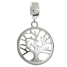 Queenberry Sterling Silver Family Tree Of Life Pandora European Style Dangle Bead Charm * More info could be found at the image url. #Charms