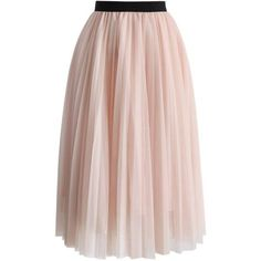 Chicwish Dreamy Pink Mesh Pleats Tulle Skirt (€45) ❤ liked on Polyvore featuring skirts, bottoms, faldas, pink, saias, knee length pleated skirt, mesh skirt, elastic waist skirt, chicwish skirt and pink tulle skirt