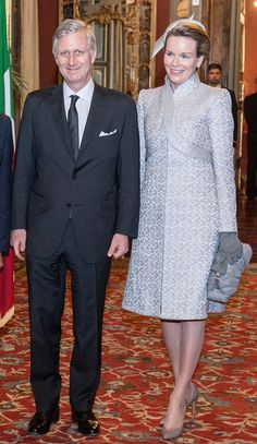 King Philippe and Queen Mathilde of Belgium arrive at Palazzo Giustiniani to meet with Italian President of Senate Pietro Grasso on 19.02.2014 in Rome, Italy