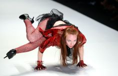 A model displays a creation by Russian designer Katerina Korol during the Russian Fashion Week in Moscow. (AFP)