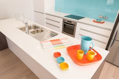 Plenty of colour in this kitchen.