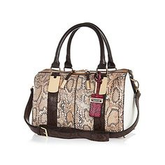 Brown snake print bowler handbag