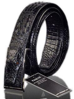 Mens Genuine Leather Jeans Belt Alligator Design Cayman Handcraft One Size