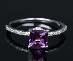6.5mm Princess Cut Amethyst 14K White Gold Pave .20ctw Diamonds Engagement Ring
