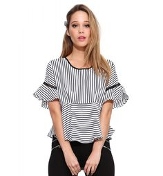 Hyde Flutter Top in Black/white Cute Blouses, Shirt Blouses, Stitch Fix Outfits, Cute Summer Outfits, Summer Clothes, Stripes Fashion, Beautiful Blouses, Fashion Fabric, Trendy Fashion