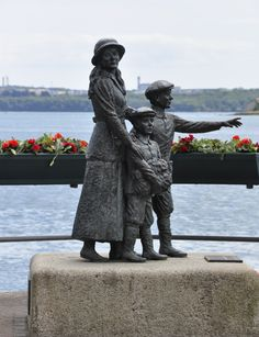 Memorial statue of Annie Moore & her children, she boarded the Titanic in Cobh, Ireland...