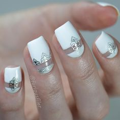 I saved my favourite for last! This design just looks so...celebratory!  Normally I'd think that negative space is a bit too harsh for a bridal design but the silver stickers on top really soften the look for me. I hope I gave you a few nail ideas if you have a wedding to attend to this summer. Don't forget that there are more bridal designs on my blog (link in bio). It has turned out that my school friend is getting married in June so I'll be whacking out my #hitched MeeBox set again soon…