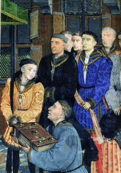 Jean Wauquelin presents the Chroniques de Hainaut, watched by Charles of Charolais (age 13-14, later Charles the Bold), with Antoine de le Croy and other Knights of the Golden Fleece. By Rogier van der Weyden, 1447 (Brussels). Frontispiece of the Chroniques de Hainaut. Opaque paint, gold, pen and ink on parchment. Royal Library of Belgium, Brussels: MS 9242.